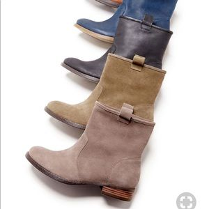 Gray suede flat booties